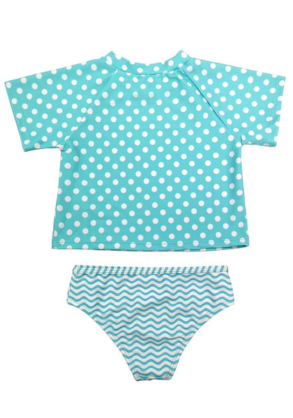 Back view of sky blue pineapple-print polka dot baby rash guard set's 3D image