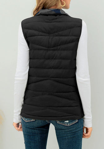 Black Reversible Camo Zip-Up Quilted Puffer Vest