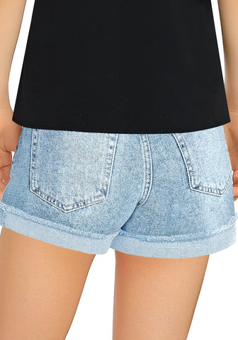 Light Blue Cuffed Raw Hem Ripped Girls' Denim Shorts