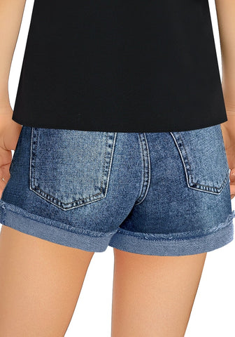 Medium Blue Cuffed Raw Hem Ripped Girls' Denim Shorts