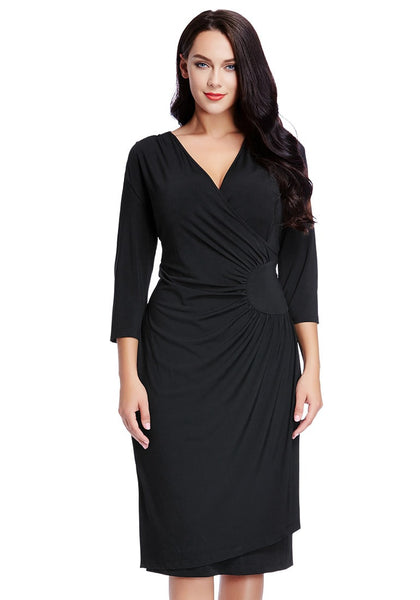 Beautiful model wearing black side-patch wrap midi dress