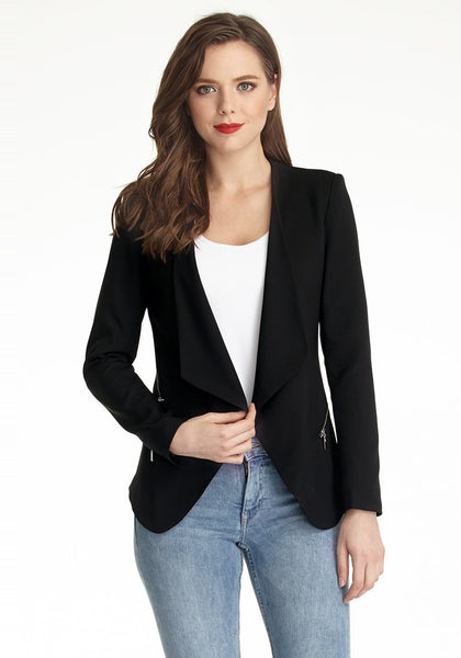 Beauty model wearing a black draped blazer