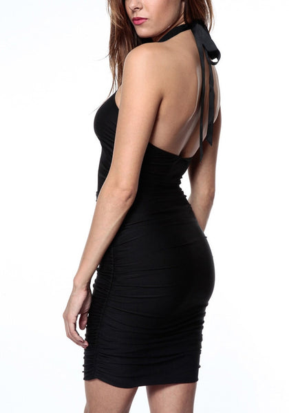 Black ruched halter dress on sexy model