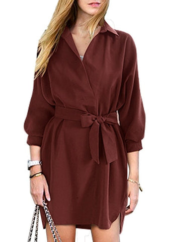 Burgundy Tie Belt Shirt Dress