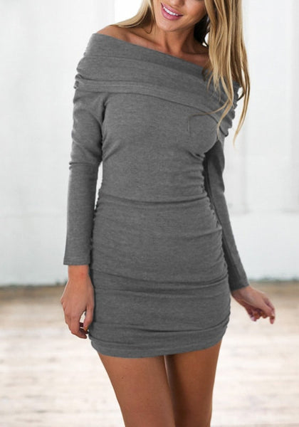 Blonde woman is wearing grey off-shoulder bodycon dress