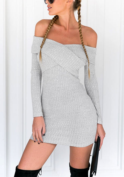 Front view of pretty model in grey cross-front off-shoulder mini dress