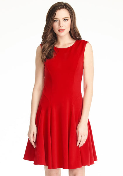 Brunette model is wearing red sleeveless skater dress