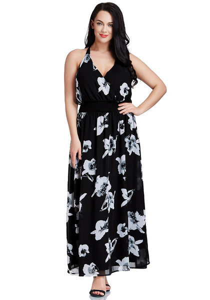 Plus Size Black Floral-Printed Plunge Maxi Dress