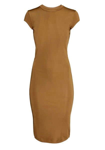 Chic brown midi sheath dress