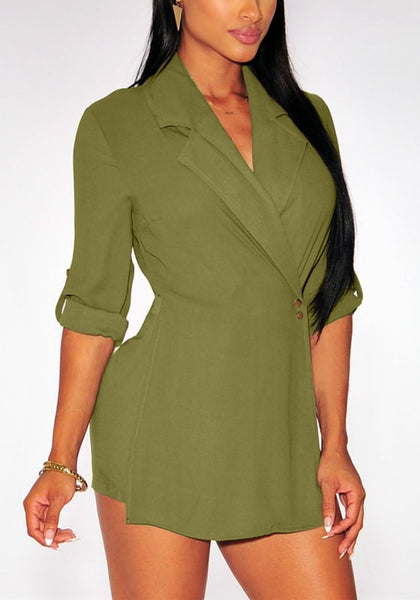 Close-up of moss green suit-style chiffon romper