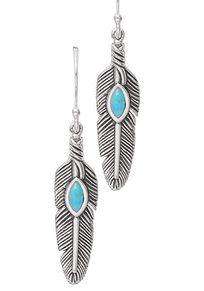 Silver Feather and Turquoise Drop Earrings