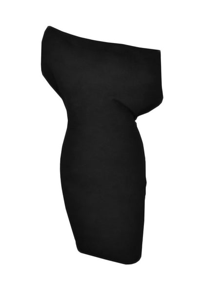 Close-up view of black one-shoulder bodycon dress