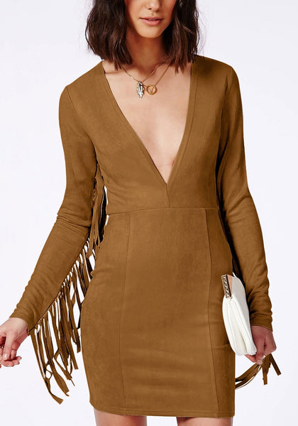 Close-up view of brown suede fringe sleeve dress