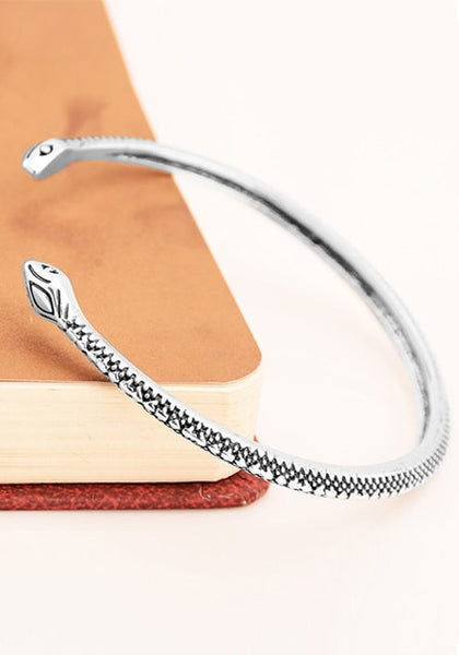 Close-up view of silver two-headed snake cuff bracelet
