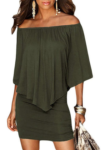 Army Green Off-Shoulder Layered Mini Dress