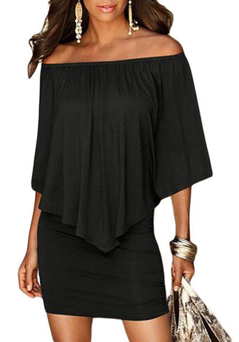 Black Off-Shoulder Layered Mini Dress