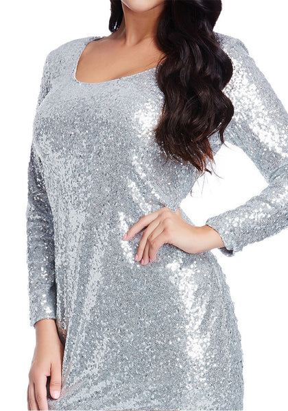 Close up half body shot of model wearing plus size silver sequined party dress