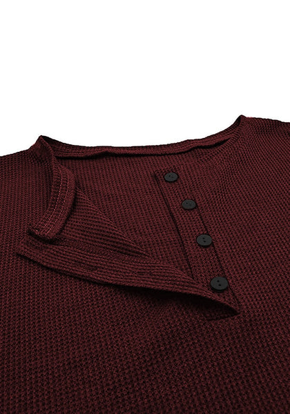 Close up shot of burgundy waffle knit pullover henley top's image