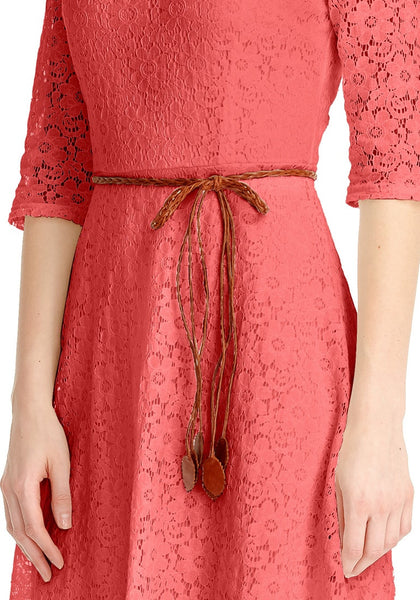 Close up shot of coral lace crop sleeves A-line dress's bottom part