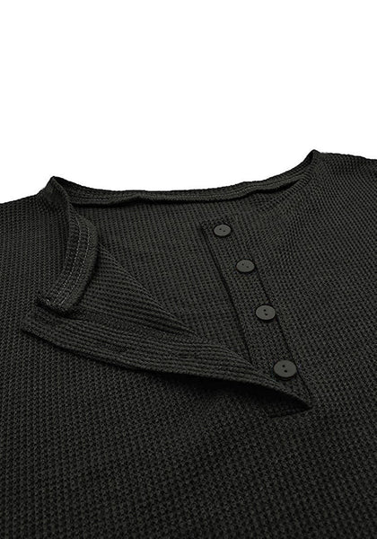 Close up shot of dark grey waffle knit pullover henley top's image