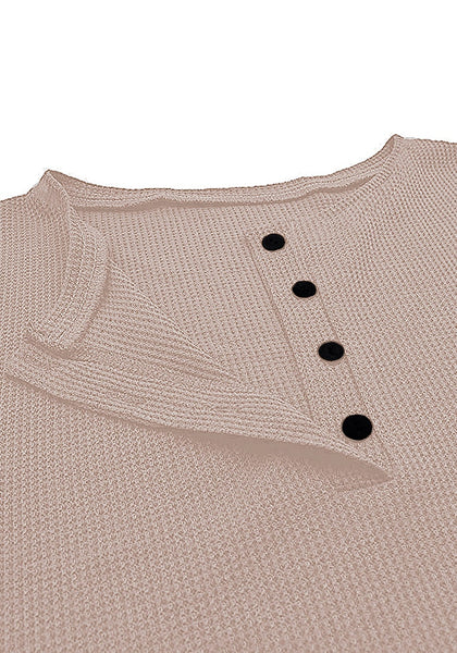 Close up shot of khaki waffle knit pullover henley top's image