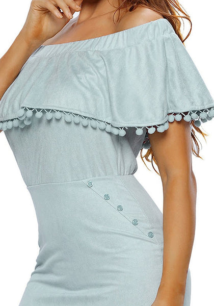 Close up shot of model in light blue ruffled off-shoulder pompom dress
