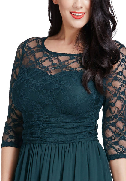 Close up shot of model in peacock lace crop-sleeves skater dress