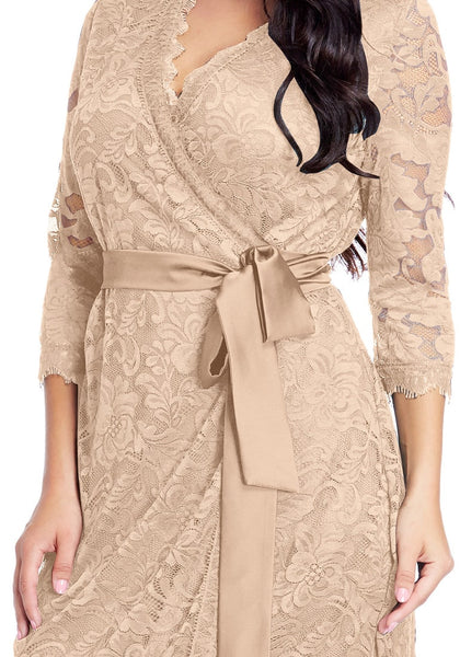 Close up shot of model in plus size beige lace crop sleeves wrap dress