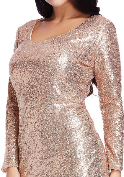 Close up shot of model in plus size champagne sequined party dress