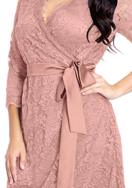 Close up shot of model in plus size dusty rose lace crop sleeves wrap dress