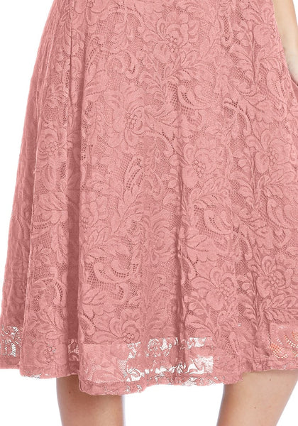 Close up shot of model in plus size old rose lace surplice midi dress