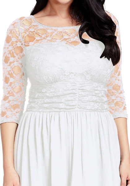 Close up shot of model in plus size white lace crop-sleeves skater dress