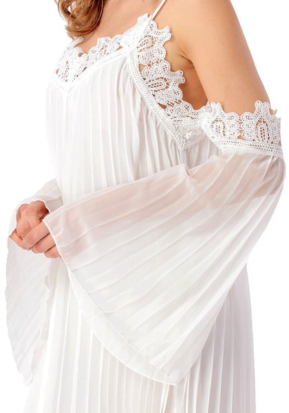 Close up shot of model wearing white cold-shoulder pleated shift dress