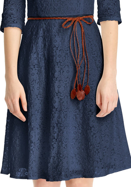 Close up shot of navy lace crop sleeves A-line dress's bottom part