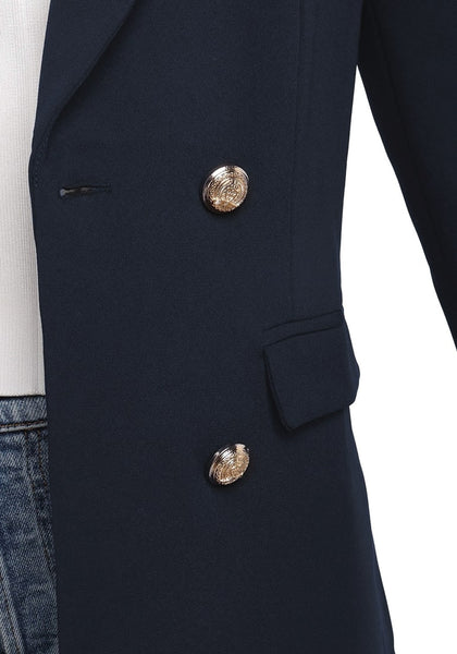 Close up shot of navy notch lapel double-breasted blazer's details