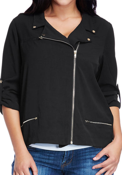 Close up shot of plus size front-zip black blazer