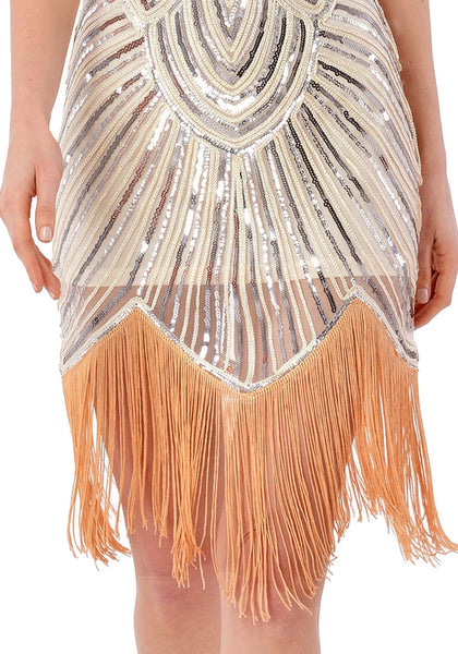 Close up view of apricot sequin fringed flapper dress