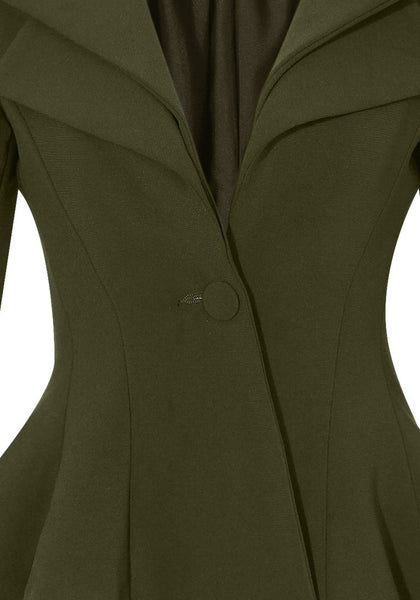 Close up view of army green double lapel fit-and-flare