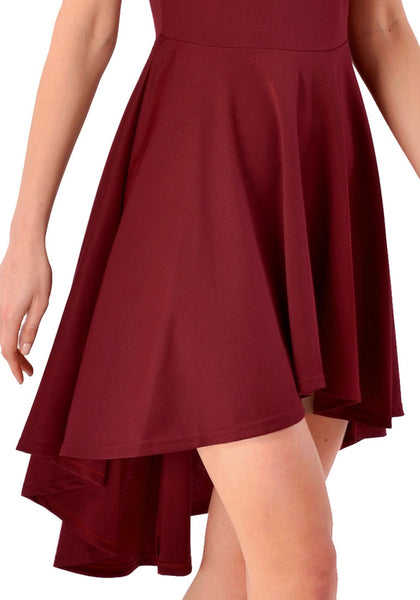 Close up view of burgundy off-shoulder high-low skater dress