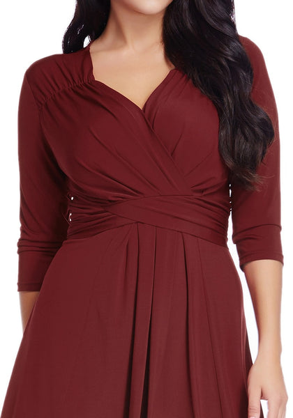 Close up view of burgundy ruched high-low dress