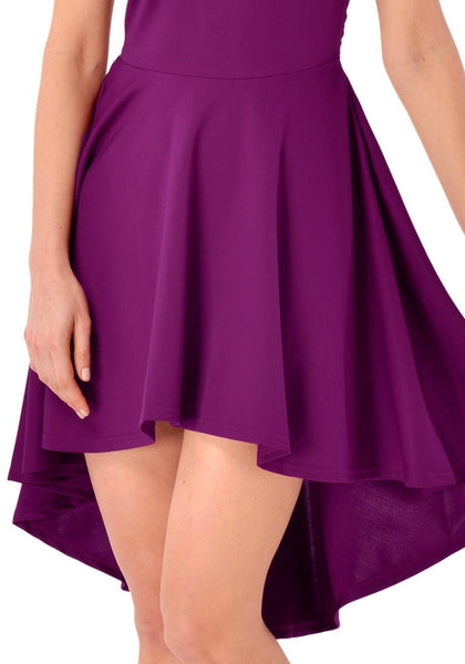 Close up view of deep orchid off-shoulder high-low skater dress
