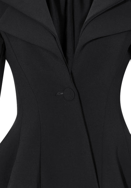 Close up view of double lapel fit-and-flare blazer - black