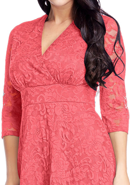 Close up view of  plus size coral surplice midi dress