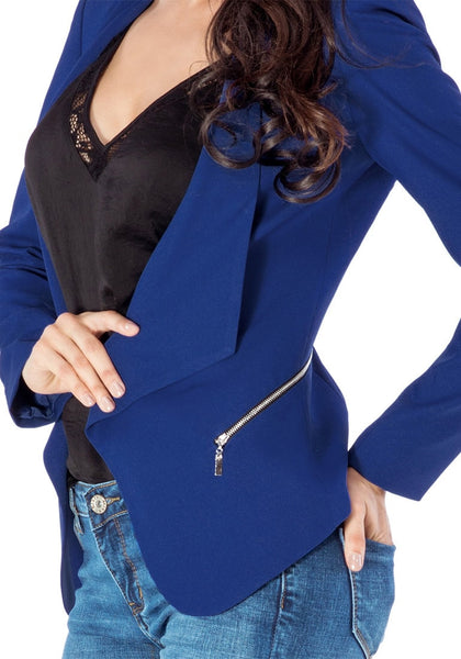 Close up view of royal blue draped blazer