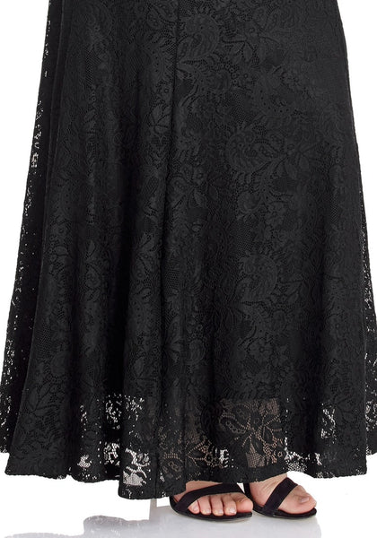 Closeup shot of black floral lace overlay sweetheart neckline maxi dress' hemline