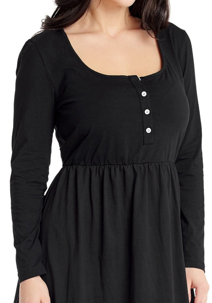 Closeup shot of model in black button-front long sleeves skater dress