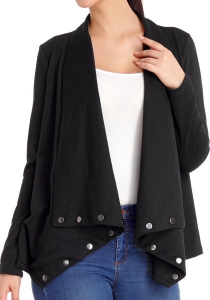 Black Button Embellished Asymmetrical Cardigan Lookbook Store