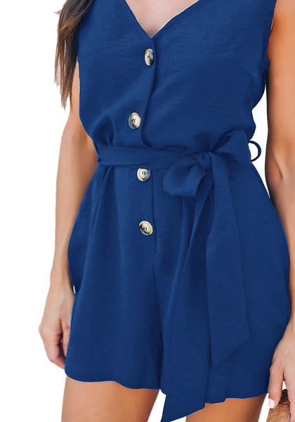 Closeup shot of model wearing blue V-neck sleeveless belted button-up romper