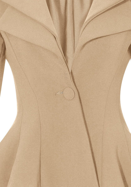 Clsoe up view of apricot double lapel fit-and-flare blazer