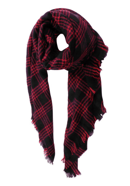 Coiled red plaid blanked shawl